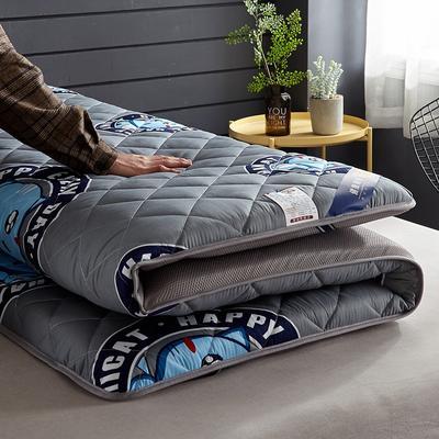 2019新品水洗棉防水透氣床墊5厘米加厚款 0.9*2 貓-藍