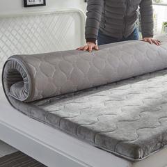 2019新品针织  法莱绒2款三明治透气床垫 0.9*2 法兰绒保暖款 灰色6厘米厚