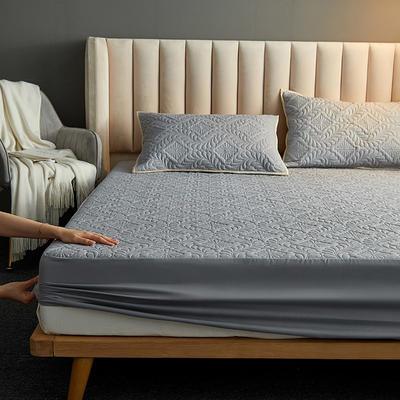 水洗棉防水夹棉床笠 120cmx200cm 富贵花床笠款-灰色