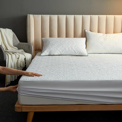 水洗棉防水夹棉床笠 120cmx200cm 富贵花床笠款-白色