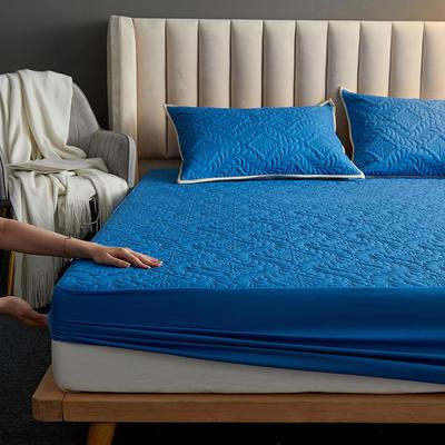 水洗棉防水夹棉床笠 120cmx200cm 富贵花床笠款-宝蓝