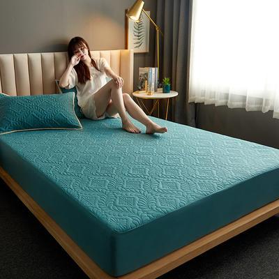 水洗棉防水夹棉床笠 120cmx200cm 富贵花床笠款-墨绿