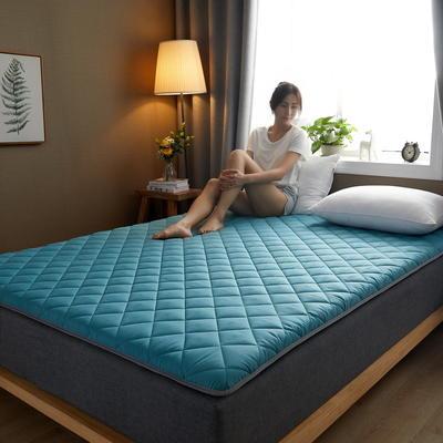 素色水洗棉防滑床垫 1.0m 墨绿斜方格