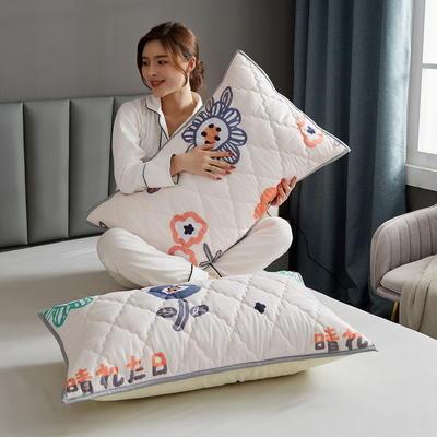 水洗棉防水夹棉枕套 48cmX74cm/只 花海-白