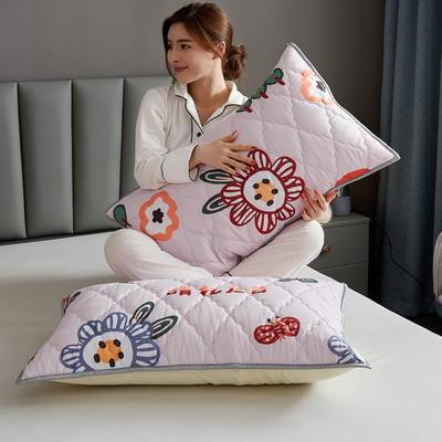 水洗棉防水夹棉枕套 48cmX74cm/只 花海-粉