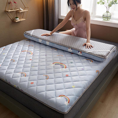 保暖舒适AB版双面用羊羔绒床垫 0.9*2.0m 牛奶绒-彩虹灰