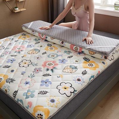 保暖舒适AB版双面用羊羔绒床垫 0.9*2.0m 牛奶绒-草莓花朵