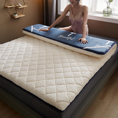 保暖舒适AB版双面用羊羔绒床垫 0.9*2.0m 羊羔绒-AB版两用白色