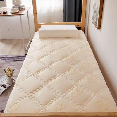 单人床针织乳胶透气单边床垫6-10厘米款 0.9*2.0m-厚度6cm 富贵花开-白兰