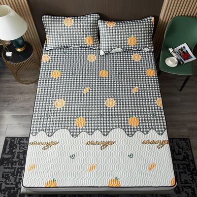 2021凉感冰丝小版花乳胶凉席三件套 1.2m床二件套 活力小橙子