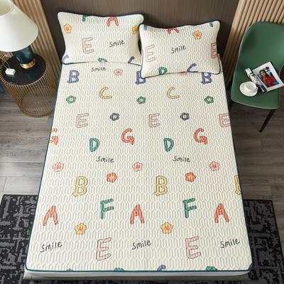2021凉感冰丝小版花乳胶凉席三件套 1.2m床二件套 七彩字母