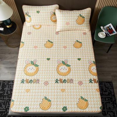 2021凉感冰丝小版花乳胶凉席三件套 1.2m床二件套 阳光小橘子-黄