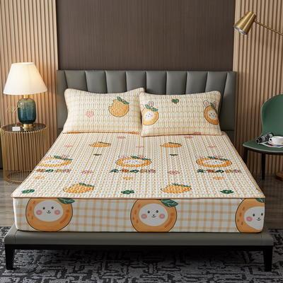 2021新款凉感冰丝乳胶床笠三件套 1.2m2件套 阳光小橘子