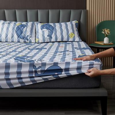水洗棉防水夹棉床笠 150cmx200cm 欢乐小海豚
