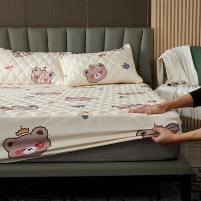 水洗棉防水夹棉床笠 90cmx200cm 可爱小熊-米黄