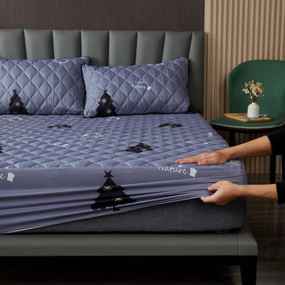 水洗棉防水夹棉床笠 150cmx200cm 摩登森林