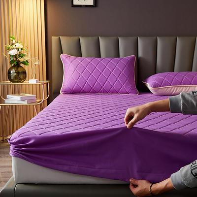 水洗棉防水夹棉床笠 180cmx200cm 紫色