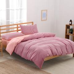 色织水洗棉格条四件套 2.0m床笠款四件套 红细条