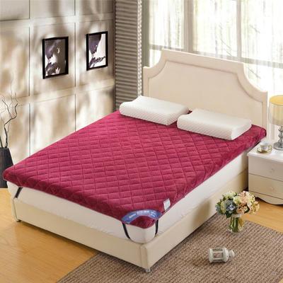 记忆棉床垫-立体贝贝绒(6.5cm) 1.8*2.0米 豆沙