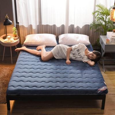 2019新款-冬夏两用加厚保暖法兰绒床垫(6.5cm) 0.9*2 蓝白