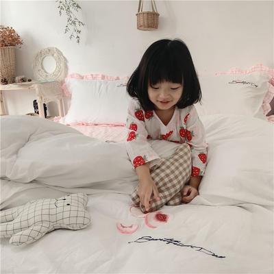 2019新款ab版全棉水洗棉四件套 1.2m床单款三件套 蜜桃粉白