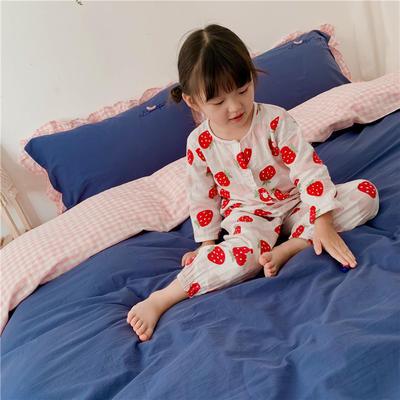 2019新款ab版全棉水洗棉四件套 1.2m床单款三件套 蜜桃粉兰