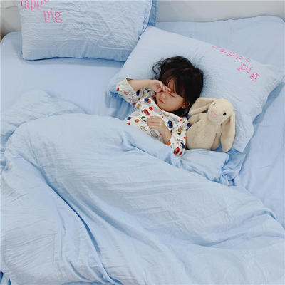 2019新款磨毛水洗棉四件套 1.2m床单款三件套 小猪