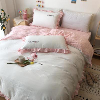 2020新款全棉刺绣色织水洗四件套-实拍 1.2m床单款三件套 白色水蜜桃
