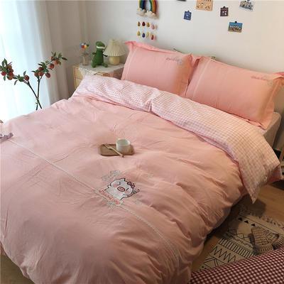 2020新款全棉刺绣色织水洗四件套-实拍 1.2m床单款三件套 粉红猪猪