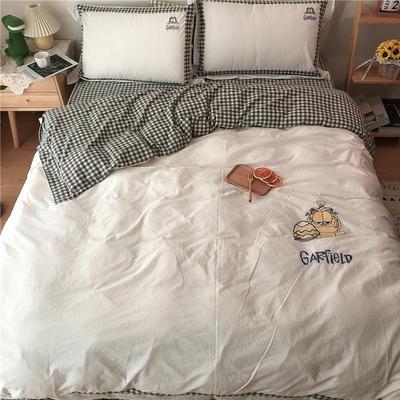 2020新款全棉刺绣色织水洗四件套-实拍 1.2m床单款三件套 加菲猫