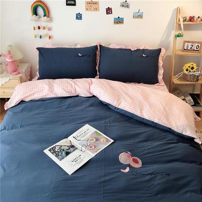 2020新款全棉刺绣色织水洗四件套-实拍 1.2m床单款三件套 蓝色水蜜桃