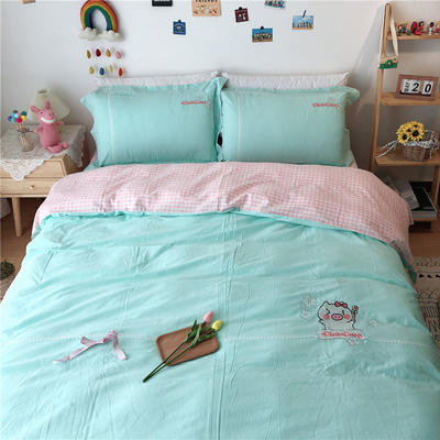 2020新款全棉刺绣色织水洗四件套-实拍 1.2m床单款三件套 绿色猪猪