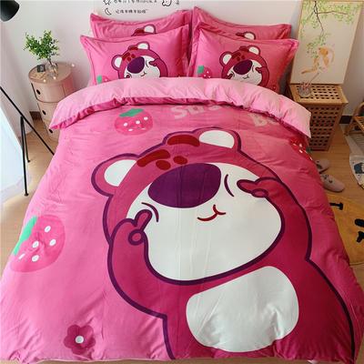 2020新款宝宝绒四件套 1.2m床单款三件套 草莓熊熊