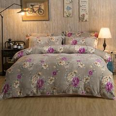 加厚云貂绒法莱绒金貂绒水晶绒四件套升级款 1.8m(6英尺)床 米拉花园