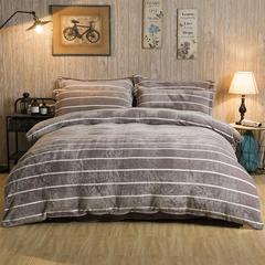 加厚云貂绒法莱绒金貂绒水晶绒四件套升级款 2.0m(6.6英尺)床 条纹生活-咖