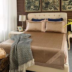 高档花边镶嵌凉席 生态冰藤席三件套-法式风情 1.5m(5英尺)床 欧美风情