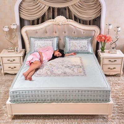 2020款席大哥 数码印花蕾丝冰丝席三件套床笠款 1.5m(5英尺)床 中国风-兰