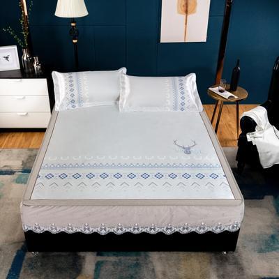 2020款席大哥 数码印花蕾丝冰丝席三件套床笠款 1.5m(5英尺)床 追寻自由