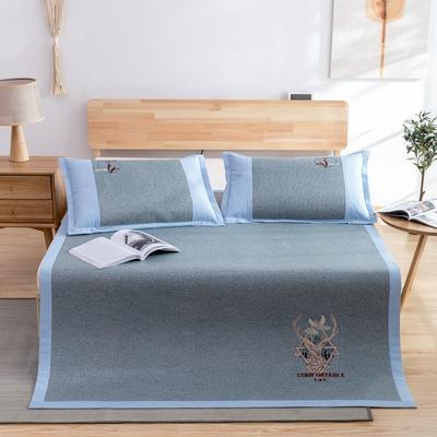 席大哥2020款涼席 冰藤席 御藤席三件套 1.5m(5英尺)床 舒適生活-藍