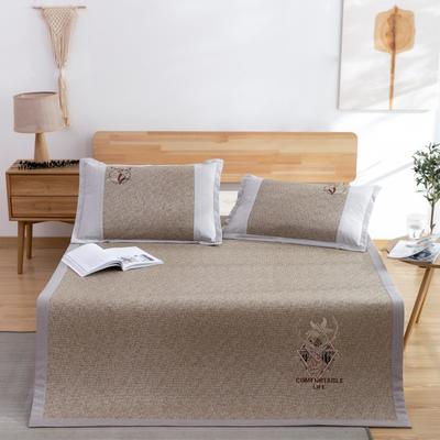 席大哥2020款涼席 冰藤席 御藤席三件套 1.5m(5英尺)床 舒適生活-咖
