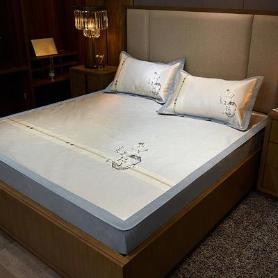 2020款北歐極簡 數碼印花 水洗冰絲席三件套床笠席 1.5m(5英尺)床 古韻之鄉