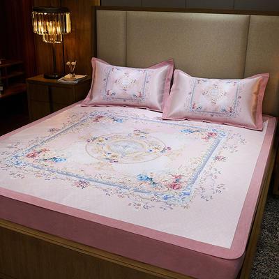 2020款北歐極簡 數碼印花 水洗冰絲席三件套床笠席 1.5m(5英尺)床 花意滿枝