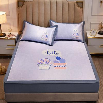 2020款北歐極簡 數碼印花 水洗冰絲席三件套床笠席 1.5m(5英尺)床 你好夏天
