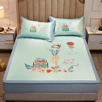 2020款北歐極簡 數碼印花 水洗冰絲席三件套床笠席 1.5m(5英尺)床 時尚女孩