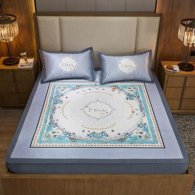 2020款北歐極簡 數碼印花 水洗冰絲席三件套床笠席 1.5m(5英尺)床 微瀾花開