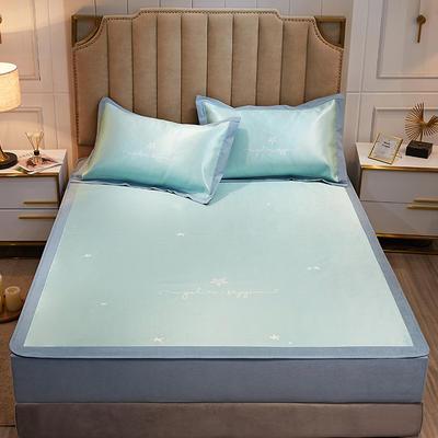 2020款北歐極簡 數碼印花 水洗冰絲席三件套床笠席 1.5m(5英尺)床 星空萬里-青