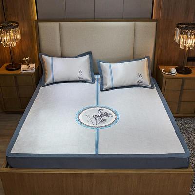 2020款北歐極簡 數碼印花 水洗冰絲席三件套床笠席 1.5m(5英尺)床 雅韻