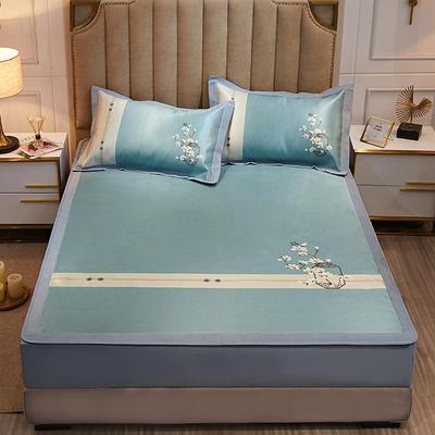 2020款北歐極簡 數碼印花 水洗冰絲席三件套床笠席 1.5m(5英尺)床 一剪梅