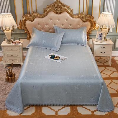 席大哥2020款涼席  歐典花邊水洗冰絲床單席 1.5m(5英尺)床 清涼薄荷