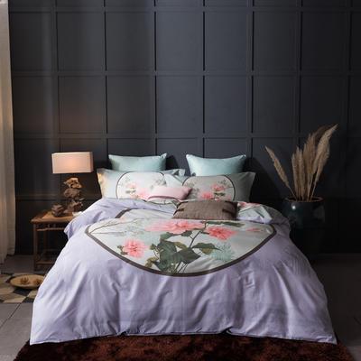 全棉活性大版四件套(全) 标准(1.5m-1.8m床) 镜里观花-紫